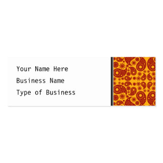 Amber Yellow and Dark Red Paisley. Double-Sided Mini Business Cards (Pack Of 20)