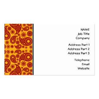 Amber Yellow and Dark Red Paisley. Double-Sided Standard Business Cards (Pack Of 100)