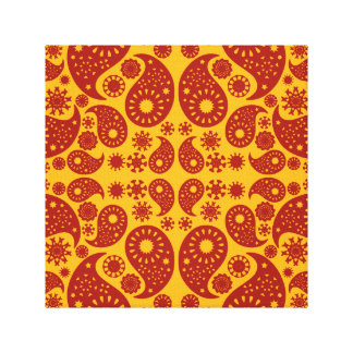 Amber Yellow and Dark Red Paisley. Gallery Wrap Canvas