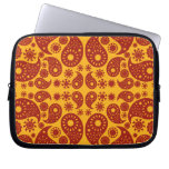 Amber Yellow and Dark Red Paisley. Computer Sleeve
