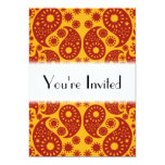 Amber Yellow and Dark Red Paisley. 5x7 Paper Invitation Card