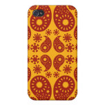 Amber Yellow and Dark Red Paisley. Case For iPhone 4