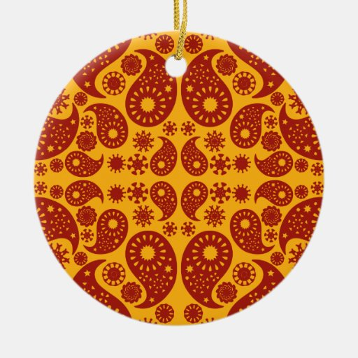 Amber Yellow and Dark Red Paisley. Double-Sided Ceramic Round Christmas Ornament