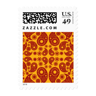Amber Yellow and Dark Red Paisley. Stamps