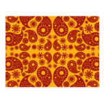 Amber Yellow and Dark Red Paisley. Postcard