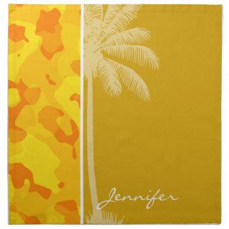 Amber Yellow Camo; Camouflage; Palm Napkin