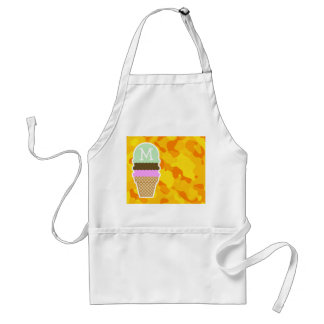 Amber Yellow Camo; Ice Cream Cone Adult Apron