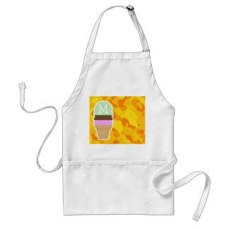 Amber Yellow Camo; Ice Cream Cone Adult Apron