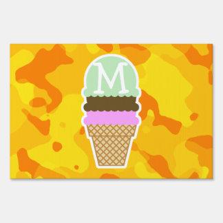 Amber Yellow Camo; Ice Cream Cone Sign