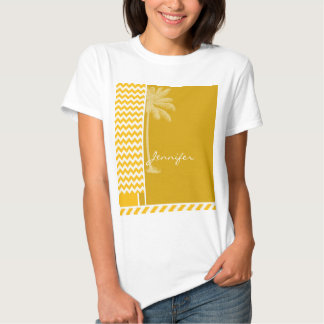 Amber Yellow Chevron; Palm T-Shirt