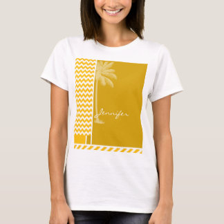 Amber Yellow Chevron; Palm T-Shirt