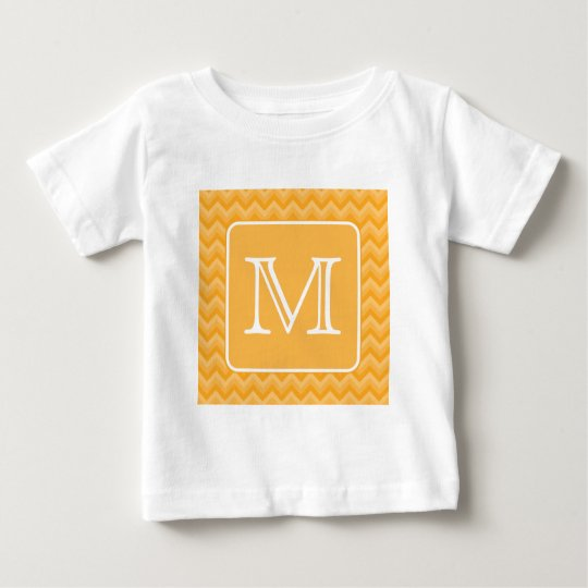 Amber Yellow Chevron Pattern. Custom Monogram. Baby T-Shirt