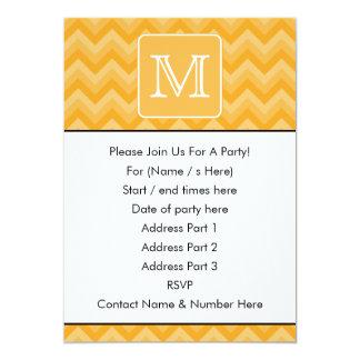 Amber Yellow Chevron Pattern. Custom Monogram. Card