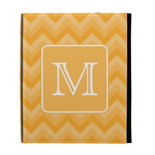 Amber Yellow Chevron Pattern. Custom Monogram. iPad Folio Cover