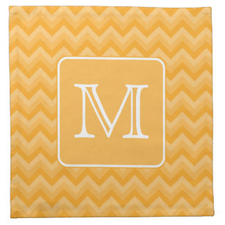 Amber Yellow Chevron Pattern. Custom Monogram. Cloth Napkin