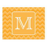 Amber Yellow Chevron Pattern. Custom Monogram. Postcard