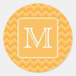 Amber Yellow Chevron Pattern. Custom Monogram. Round Sticker