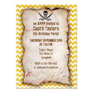 "Amber Yellow Chevron; Pirate 4.5"" X 6.25"" Invitation Card"