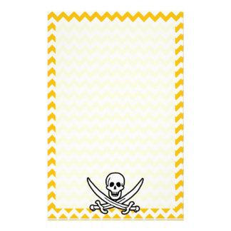 Amber Yellow Chevron Pirate Customized Stationery