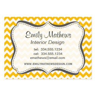 Amber Yellow Chevron; zig zag Business Card