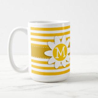 Amber Yellow Stripes; Daisy Mugs