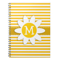 Amber Yellow Stripes; Daisy Notebook