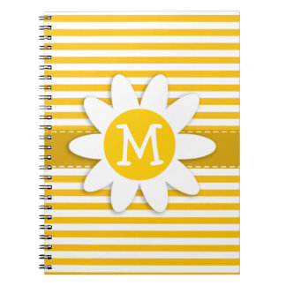 Amber Yellow Stripes Daisy Note Books