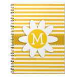 Amber Yellow Stripes; Daisy Spiral Notebook