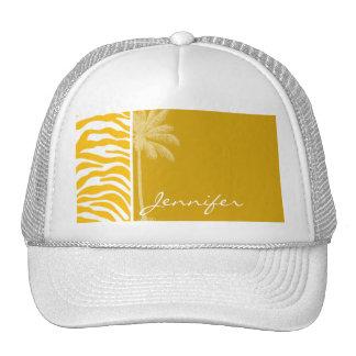 Amber Yellow Zebra Animal Print; Summer Palm Mesh Hats