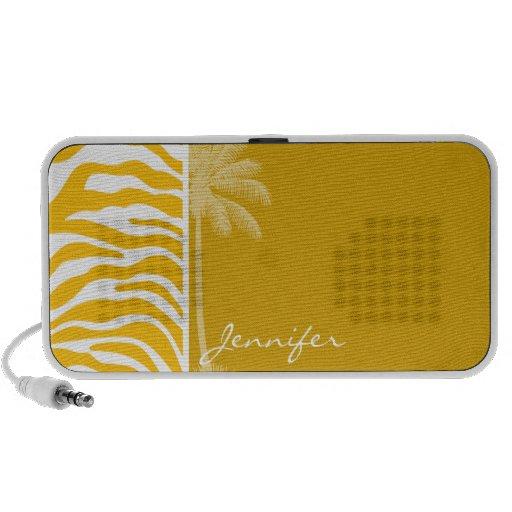 Amber Yellow Zebra Animal Print; Summer Palm Laptop Speaker