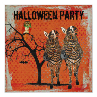Amber Zebras & Rose Owl Halloween Invitation