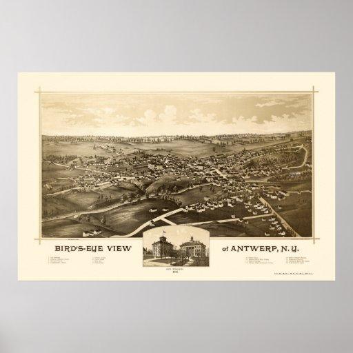 Amberes, mapa panorámico de NY - 1888 Impresiones