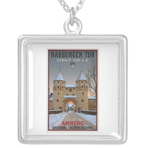 Amberg - Nabburger Tor Square Pendant Necklace