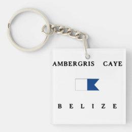 Ambergris Caye Belize Alpha Dive Flag Keychain
