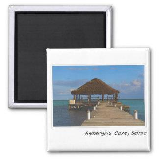 Ambergris Caye Belize Tropical Destination 2 Inch Square Magnet