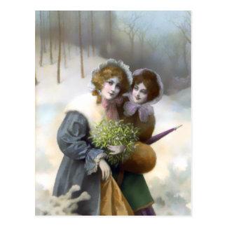 Amberwood Stroll Vintage Christmas Scene Postcards