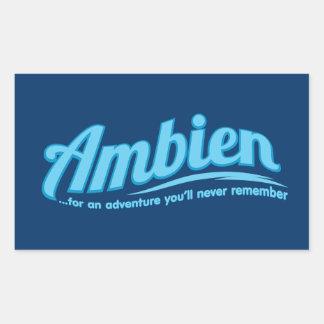 Ambien: Para una aventura usted nunca recordará Pegatina Rectangular