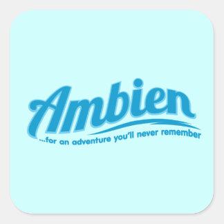 Ambien: Para una aventura usted nunca recordará Pegatina Cuadrada