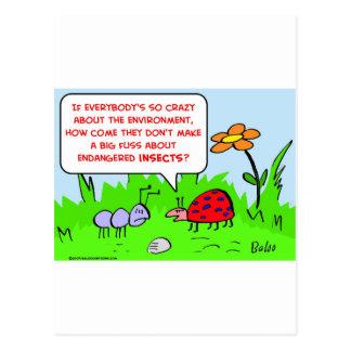 ambiente en peligro de los insectos tarjetas postales