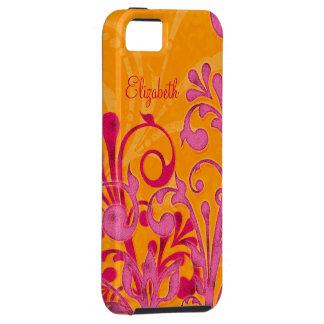Ambiente floral anaranjado rosado personalizado de iPhone 5 cárcasa