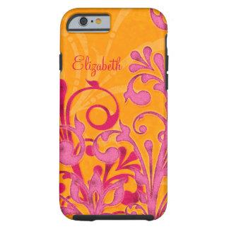 Ambiente floral anaranjado rosado personalizado funda de iPhone 6 tough