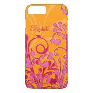 Ambiente floral anaranjado rosado personalizado funda iPhone 7 plus