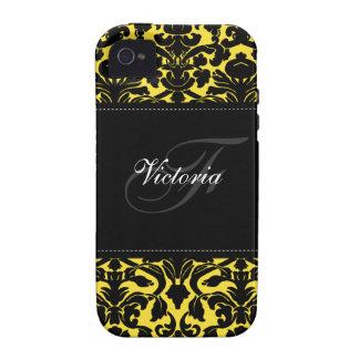 Ambiente negro y amarillo del monograma del damasc iPhone 4 fundas