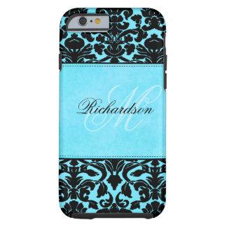 Ambiente negro y azul del monograma del damasco funda de iPhone 6 tough
