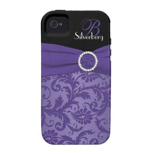 Ambiente púrpura y negro del monograma del damasco iPhone 4/4S funda