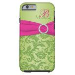 Ambiente rosado y verde del monograma del damasco funda de iPhone 6 tough