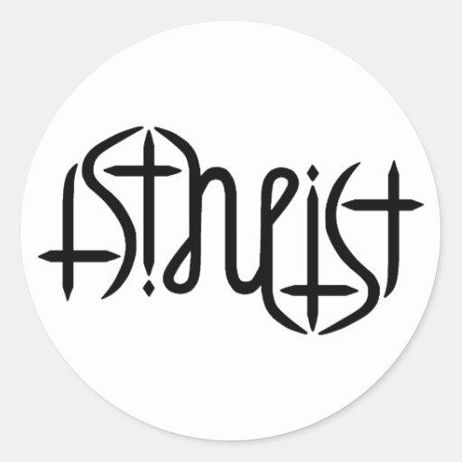 Ambigram ateo - original pegatina redonda