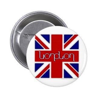 """Ambigram de """"Londres"""" en bandera BRITÁNICA Pin"""