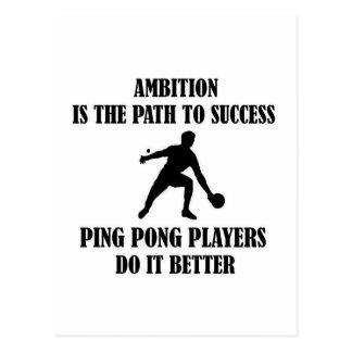 Ambitious ping pong design postcard