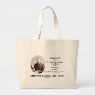 Ambrose Bierce Recollect The Devil's Dictionary Jumbo Tote Bag